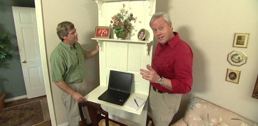 Allen Lyle and Danny Lipford with door to desk conversion project.