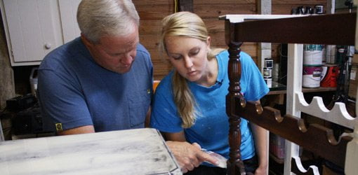 Danny Lipford and daughter, Chelsea, apply chalk finish to furniture.