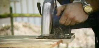 Ripping plywood using the homemade circular saw rip cut jig.