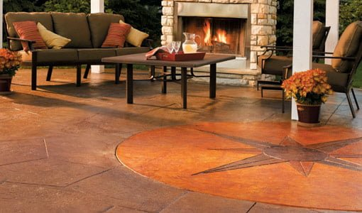 Patio stained using Quikrete® concrete stain.