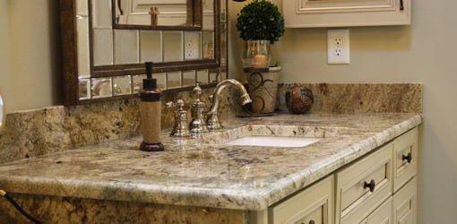 Master bathroom vanity with granite countertop.