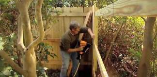 Attaching stringers to posts when building a wooden fence.