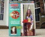 Package containing Magic Mesh hands free screen door.