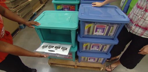 Opening door on Rubbermaid All Access Storage Organizers.