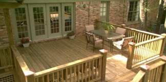 New wooden deck on house.