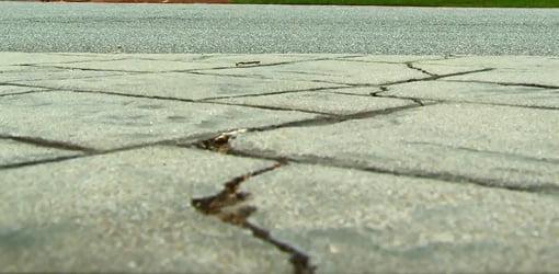 Crack in concrete.
