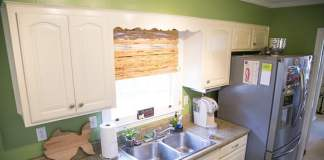 The furr down is the enclosed area between the cabinets and ceiling.