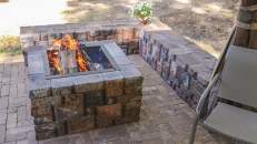 Fire pit and corner bench