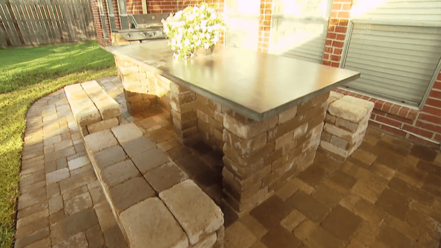 Table and bench made using landscaping blocks.