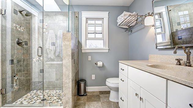 modern shower enclosed