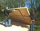 Erecting the shed's walls