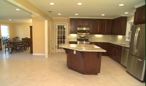 Opened up kitchen and living area after the renovation was complete.