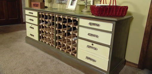Old credenza that has been repaired and refinished.