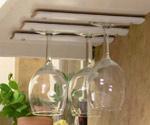 Wine glasses in under cabinet rack