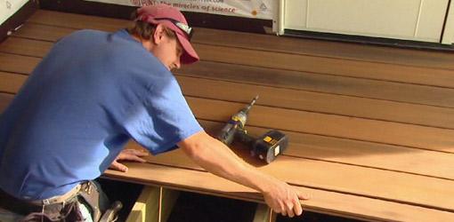 Installing Fiberon composite decking on back porch