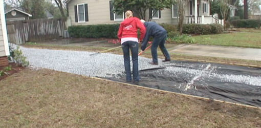 Chelsea and Danny spreading out the crushed limestone driveway.
