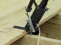 Installing decking using the CAMO Edge Pro hidden deck fastener.