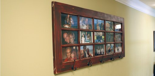 Wall mounted french door photo gallery and coat rack.