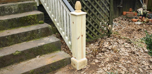 Repaired newel post on outside stairs.