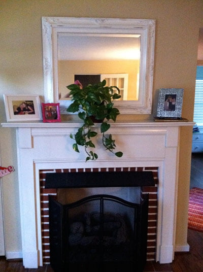 Fireplace before painting hearth.