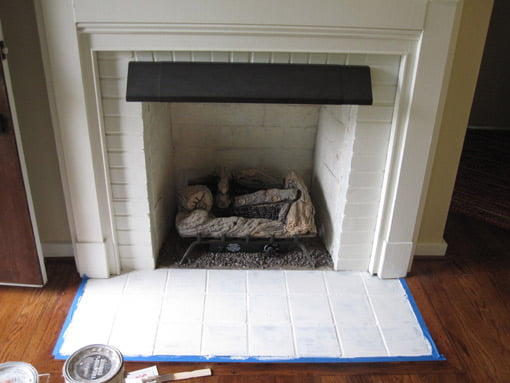 Fireplace hearth primed.