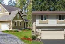House with gravel driveway on the left; house with asphalt driveway on the right