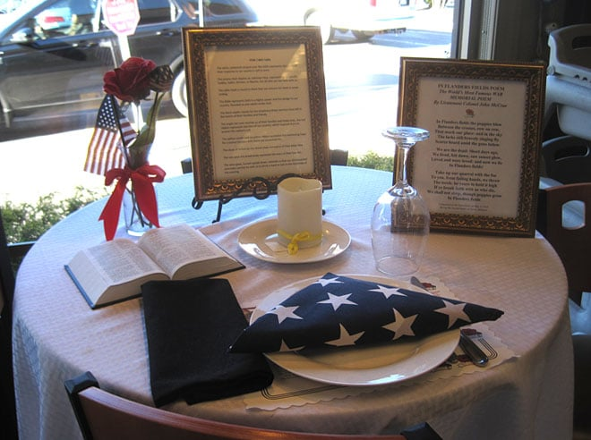 The Missing Man Table also known as the Fallen Comrade Table is a place of honor set up in military dining facilities of the U.S. armed forces and during ... & Honoring the Fallen and Missing With A Place At The Table ...