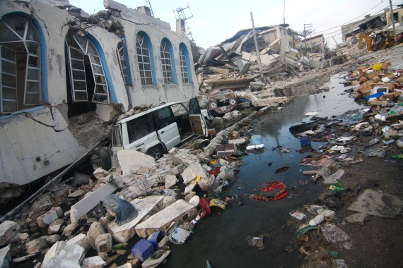 A stretch of road with all buildings damaged in the earthquake. Port-au-Prince, Haiti, January 19, 2010.