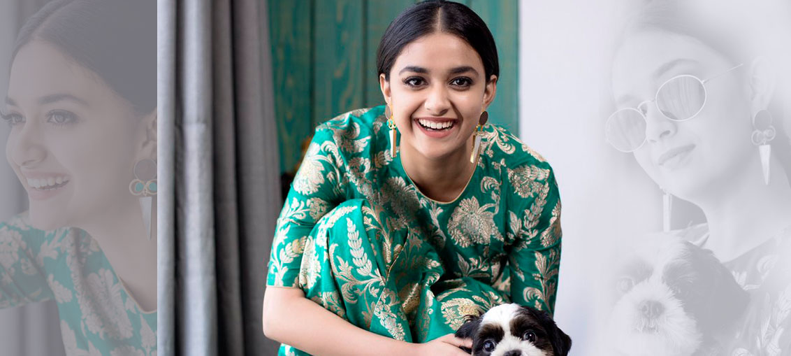Beautiful Actress Keerthy Suresh Green Dress Photos Stills