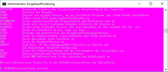 windows 10 eingabeaufforderung pink