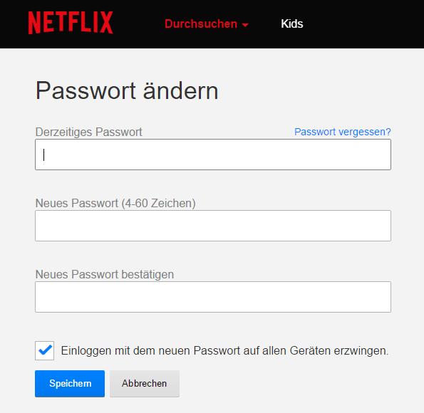 Netflix Passwort ändern