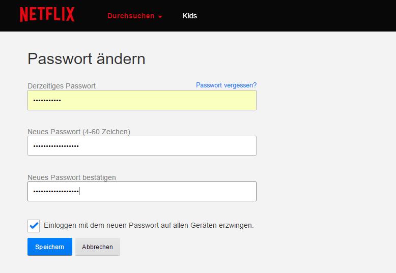 netflix com Passwort vergessen