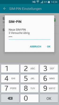 android neue sim pin eingeben