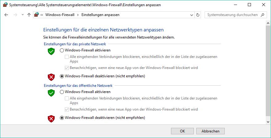 Firewall windows 10 deaktivieren