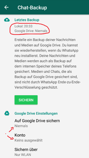 whatsapp google drive sichern