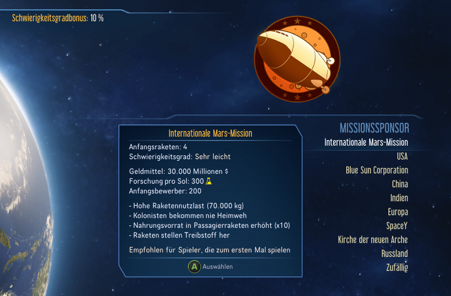 Surviving Mars Sponsoren Internationale Mars Mission