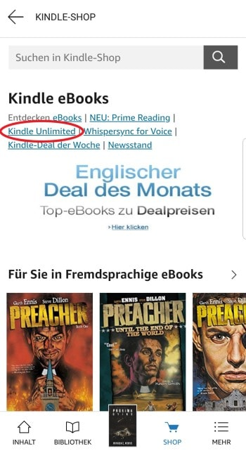 kindle unlimited kündigen lese app