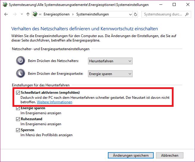 windows 10 schnellstart