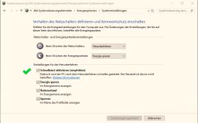 windows 10 schnellstart aktivieren