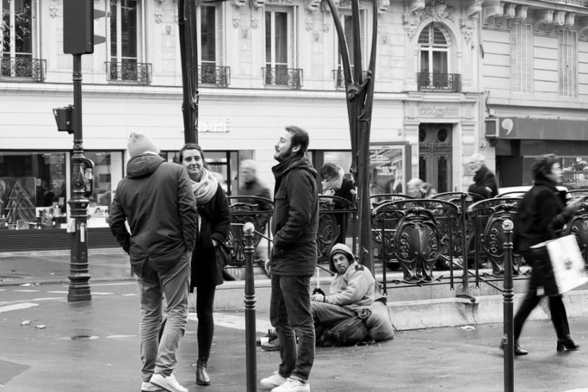metro black and white street photography paris