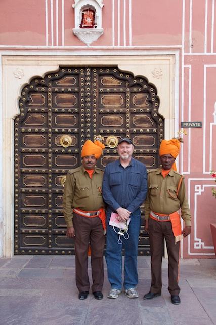 Todd with guards at City Palace, Jaipur, December 2015