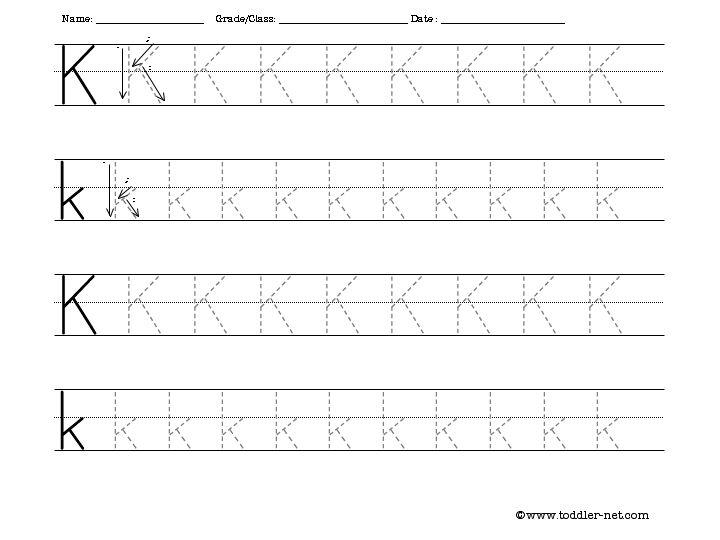 Free Tracing Letter K Worksheet