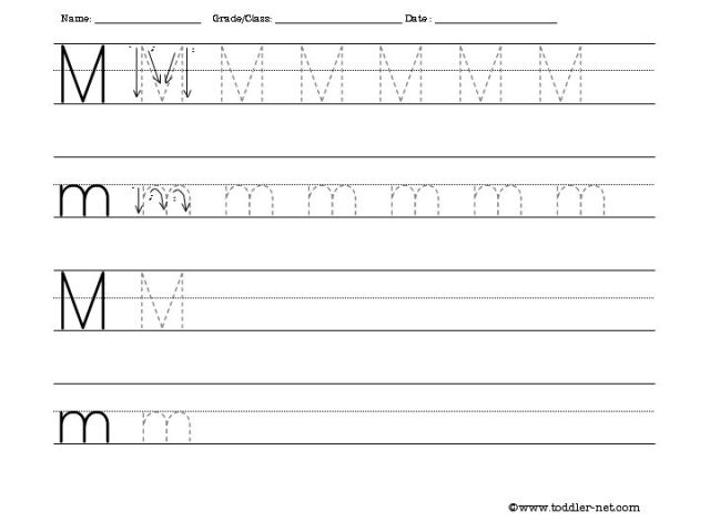 Tracing And Writing Letter M Worksheet