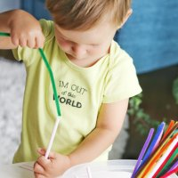 Pipecleaners + Straws Activity