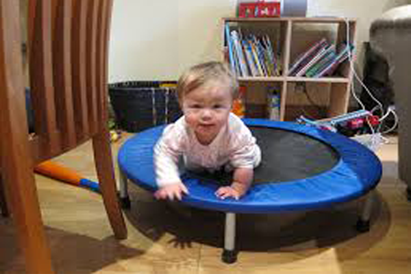 Toddler are playing on best indoor trampoline