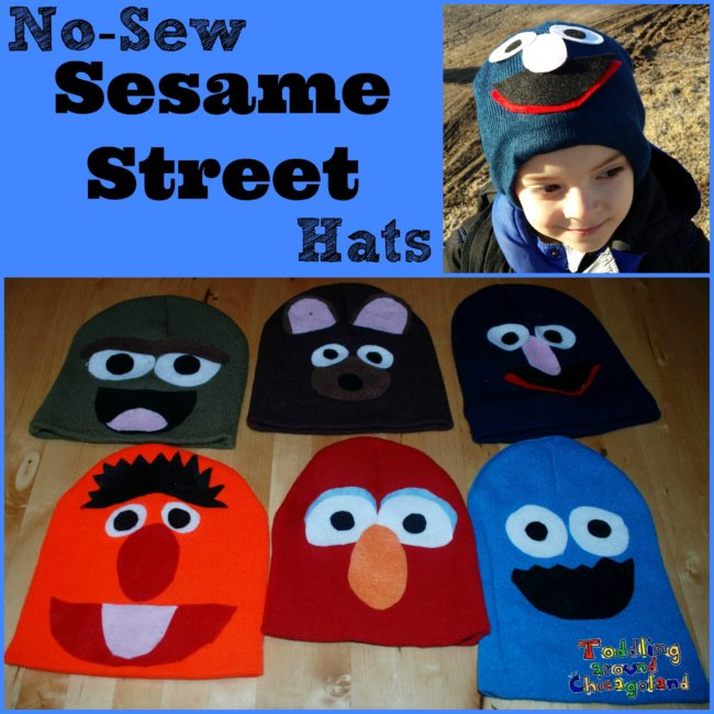No Sew Sesame Street Hats for Sesame Street Live - Toddling Around Chicagoland