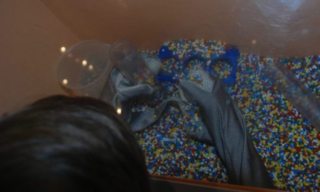 Science + You Exhibit at the Kohl Children's Museum - glove box - Toddling Around Chicagoland