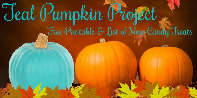 Orange and teal pumpkins - Teal Pumpkin Project