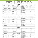 Free Museum Days Summer 2015 calendar
