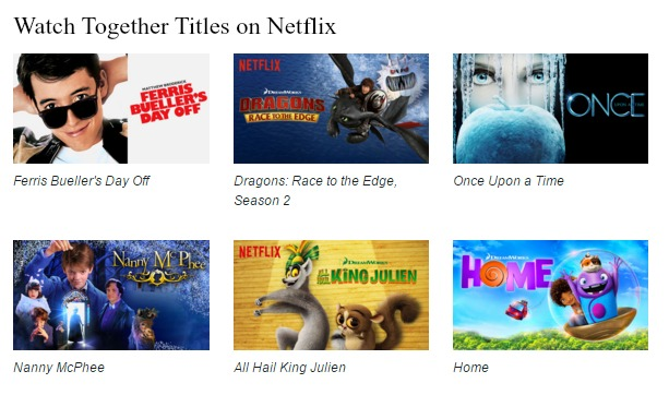 Netflix #StreamTeam - watch together titles - February 2016